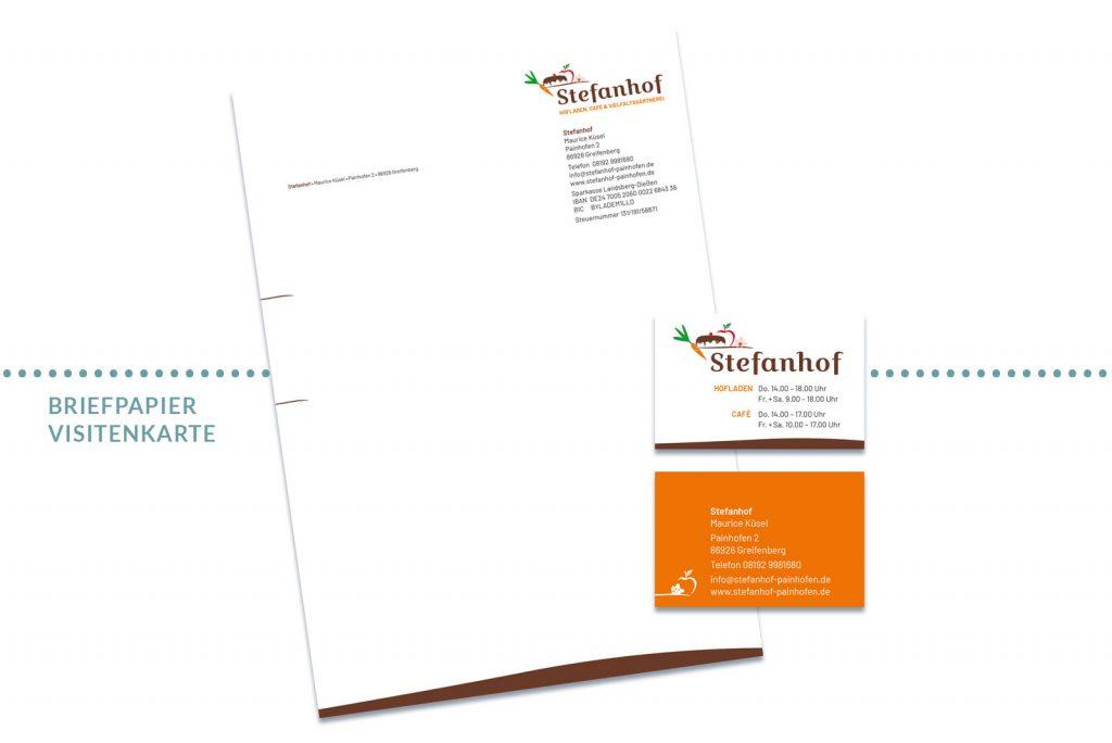 Referenz Stefanhof Briefpapier und Visitenkarte
