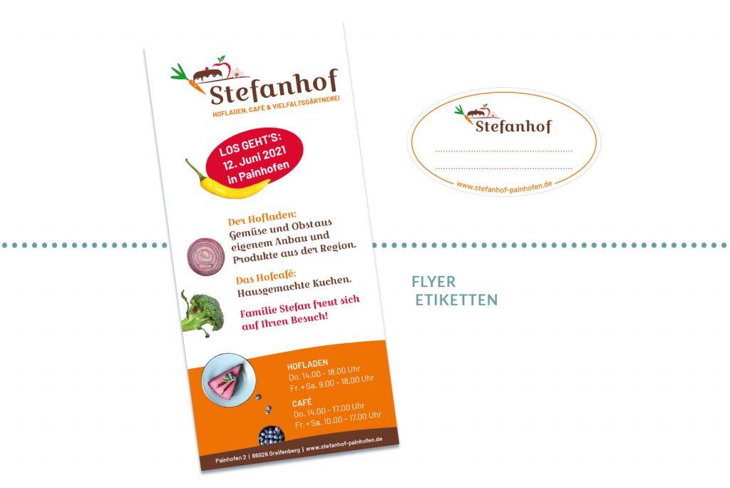 Referenz Stefanhof Flyer und Etiketten
