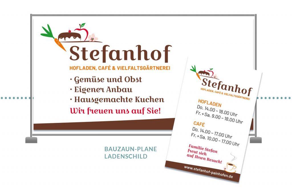 Referenz Stefanhof Bauzaunplane und Ladenschild