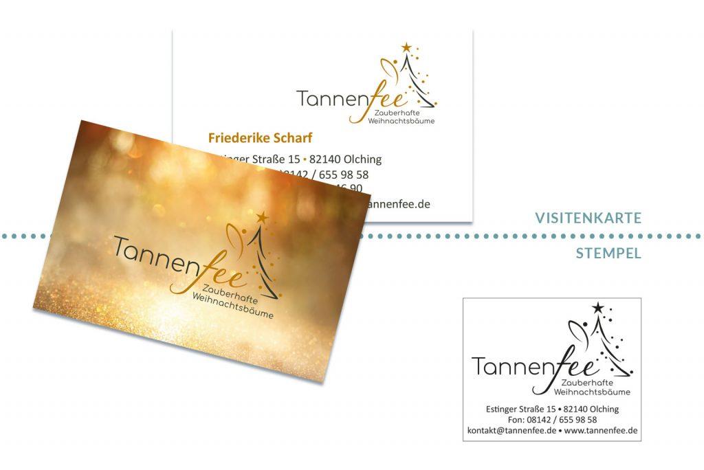 Referenz Tannenfee Visitenkarte & Stempel
